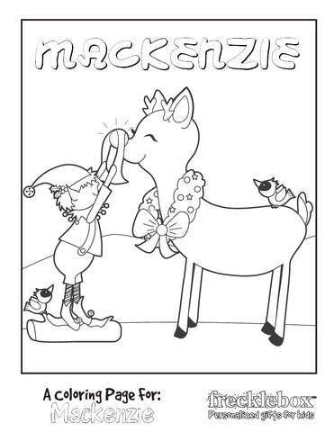 Elf polishing Rudolph's nose coloring page