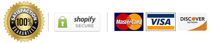 Satisfaction Guaranteed - Shopify Secured - Mastercard, Visa, Discover Trust Badges