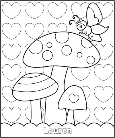 Valentine's Butterfly Garden Coloring Page