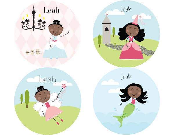 Black Hair Fairy Tale Personalized Stickers - frecklebox
