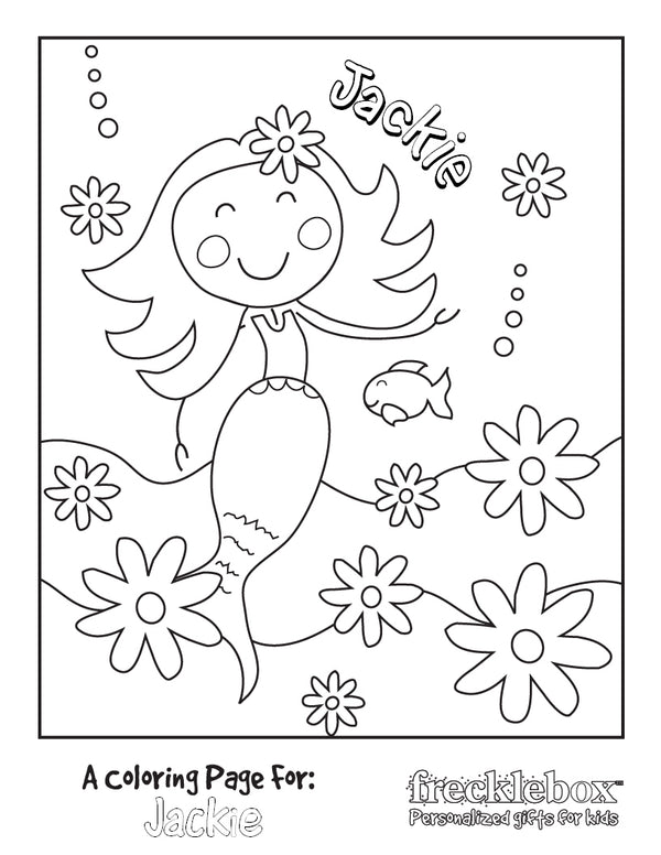 Mermaid with Flowers Coloring Page - frecklebox
