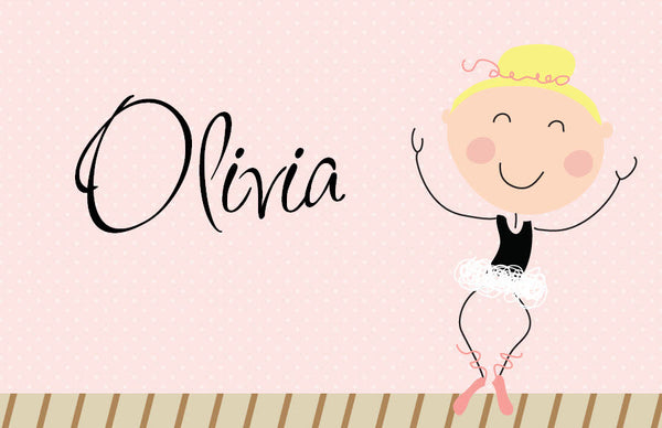 Blonde Hair Ballerina Placemat - frecklebox