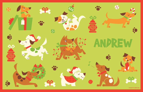 Christmas Dogs Placemat - frecklebox