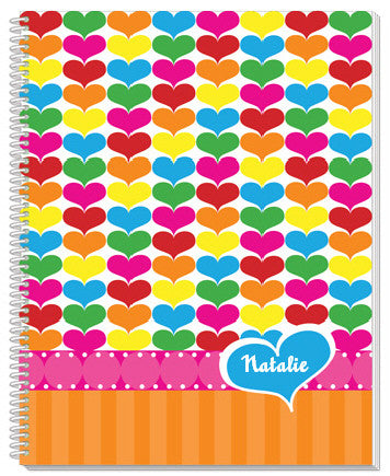Rainbow Hearts Notebook - frecklebox