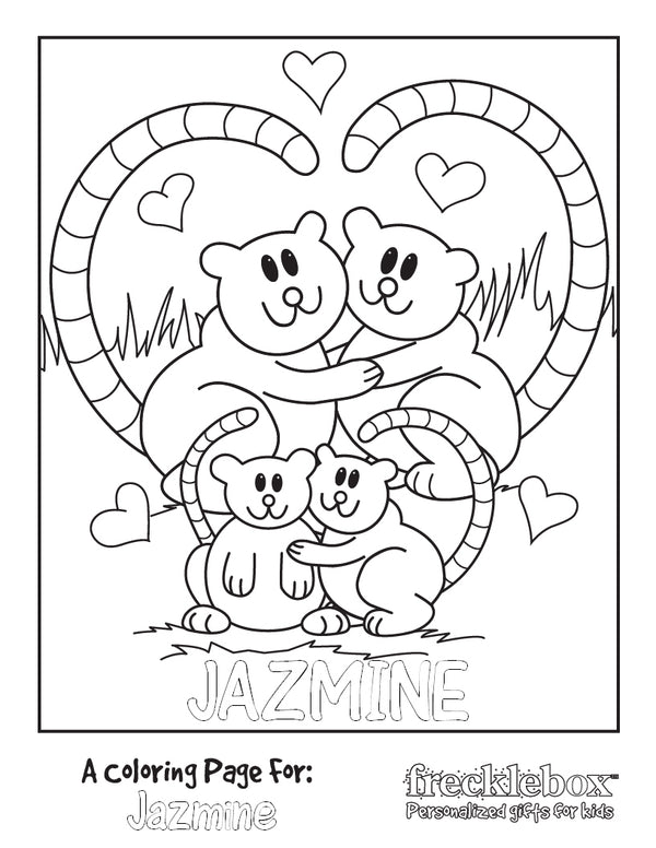 Loving Lemurs Coloring Page - frecklebox