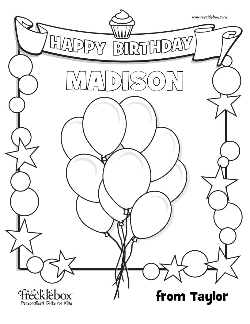 Personalized Birthday Coloring Page | Frecklebox- frecklebox