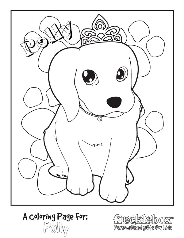 Princess Puppy Coloring Page - frecklebox