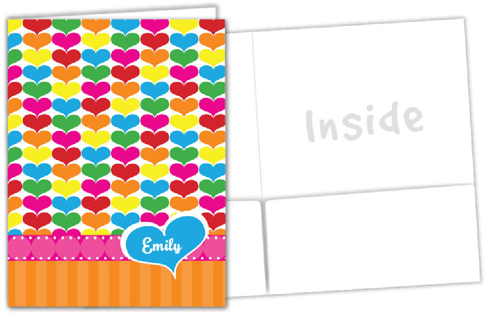 Rainbow Hearts Folder - frecklebox