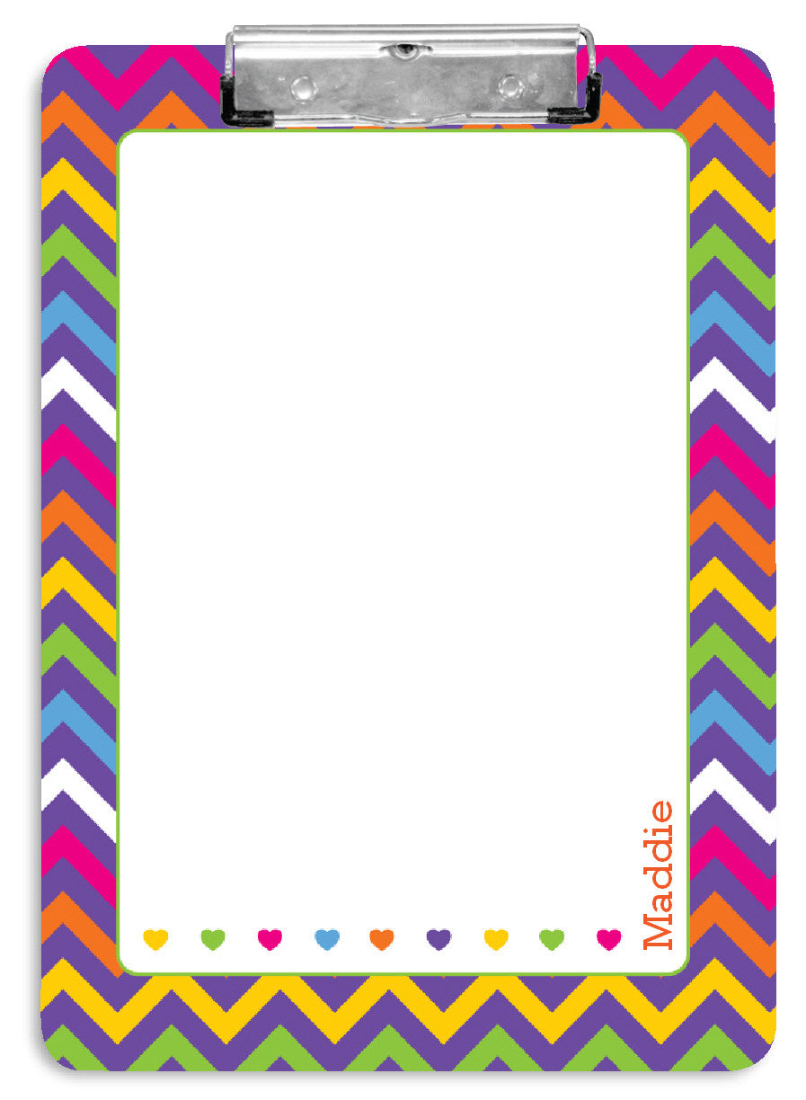 Rainbow Chevron Clipboard - frecklebox