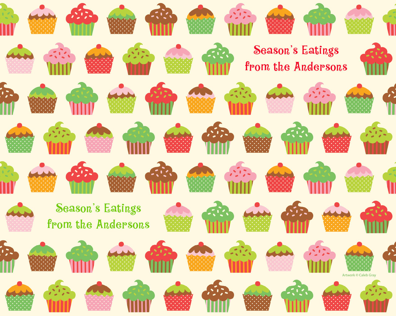 Holiday Cupcakes Wrapping Paper 6ft - frecklebox