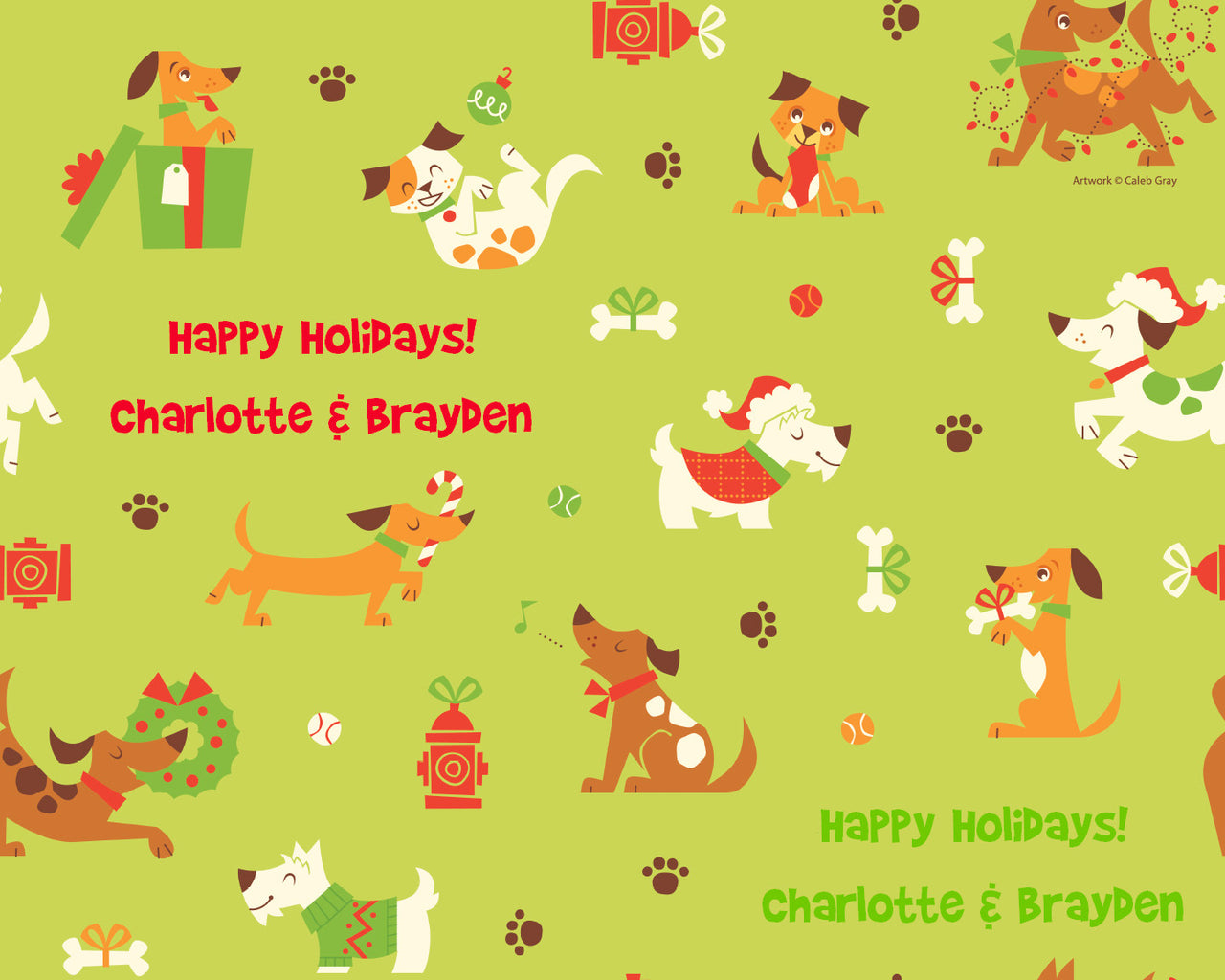 Holiday Dogs Wrapping Paper 12ft - frecklebox