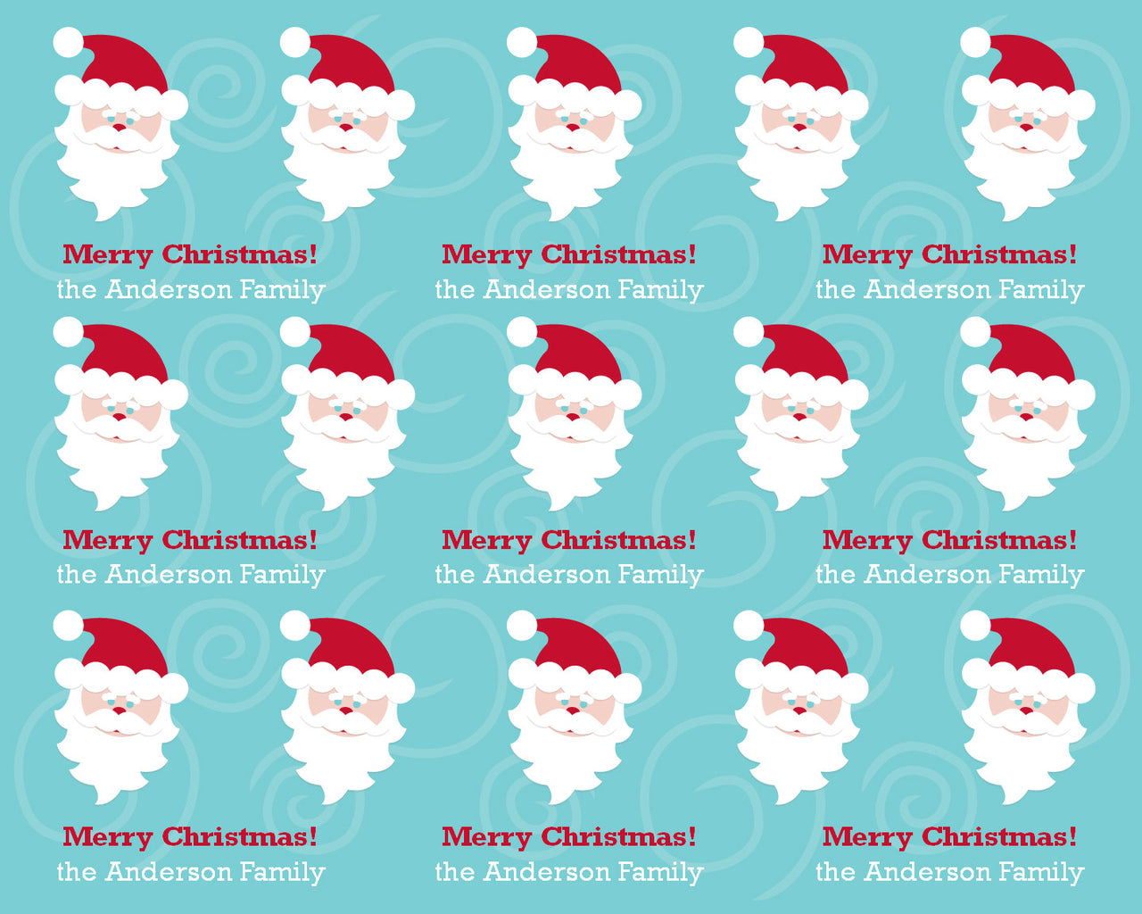 Mod Santa Wrapping Paper 6ft - frecklebox