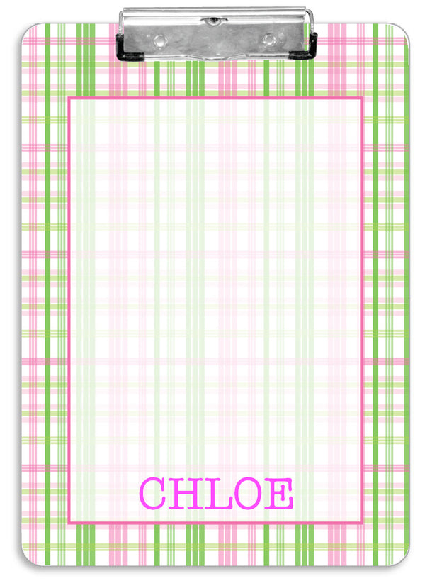 Pink Plaid Clipboard - frecklebox