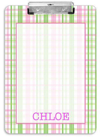 Pink Plaid Clipboard