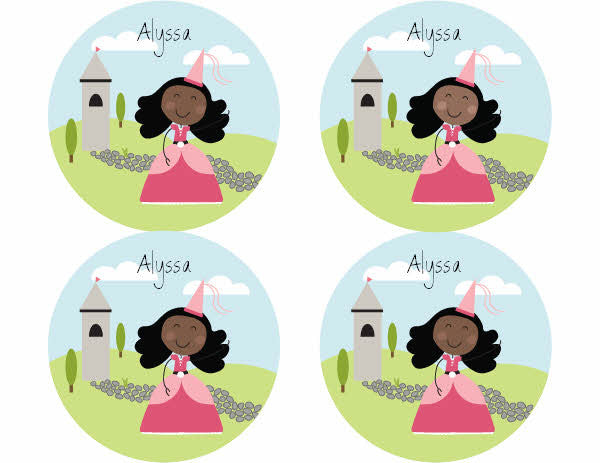 Black Hair Princess Personalized Stickers - frecklebox