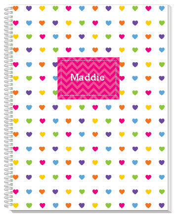 Rainbow Chevron with Hearts Notebook - frecklebox