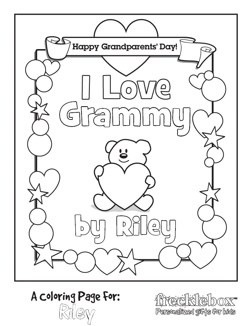 I love grammy personalized coloring page for kids