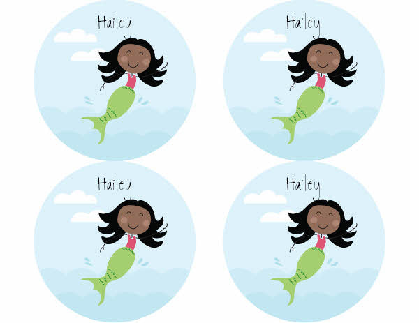 Black Hair Mermaid Personalized Stickers - frecklebox