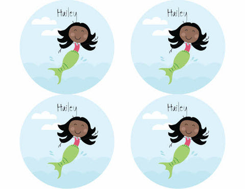 Black Hair Mermaid Personalized Stickers