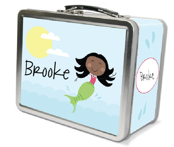 Black Hair Mermaid Lunch Box - frecklebox