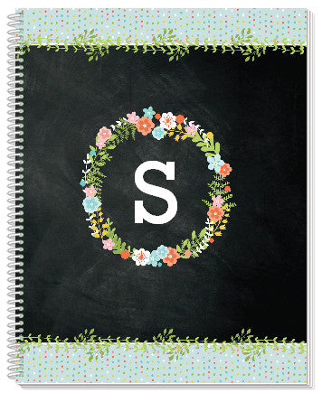Floral Monogram Notebook - frecklebox
