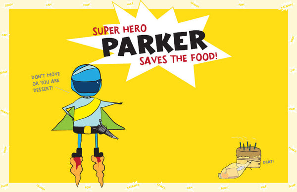 Super Hero Saves the Food Placemat - frecklebox