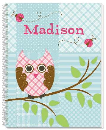 Quilted Owls Notebook - frecklebox