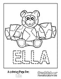 Beary Happy Coloring Page - frecklebox colouring pages