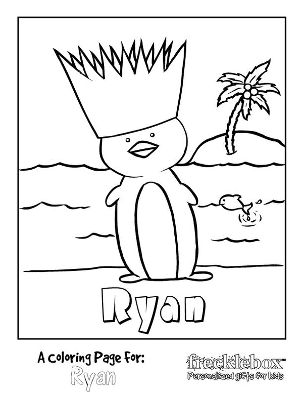 Penguin Island Coloring Page - frecklebox