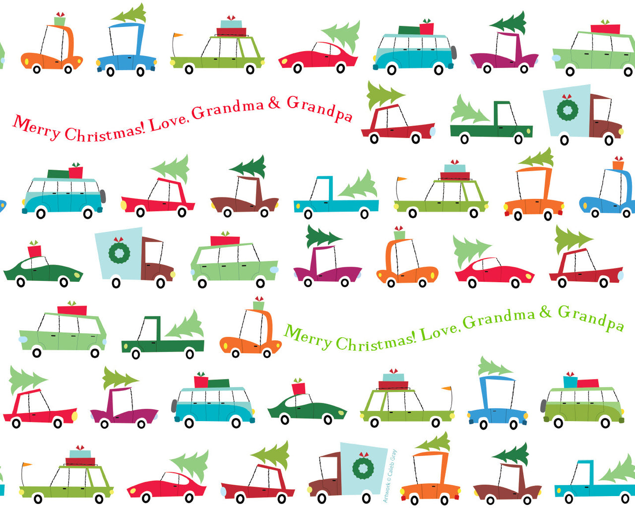 Holiday Cars Wrapping Paper 12ft - frecklebox