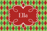 Argyle Red and Green personalized Placemat