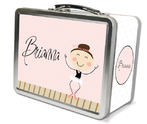 Dark Brown Hair Ballerina Lunch Box - frecklebox