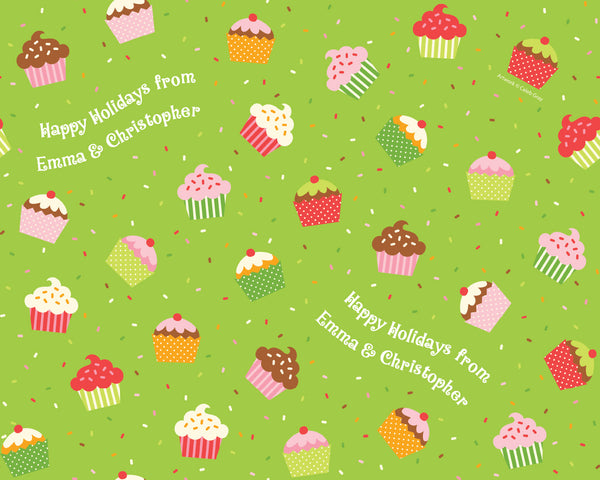 Holiday Cupcakes & Sprinkles Wrapping Paper 12ft - frecklebox