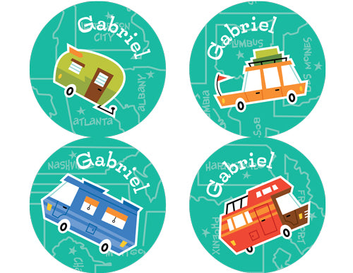 Road Trippin' Personalized Stickers - frecklebox