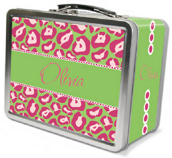 Lime Pink Leopard Lunch Box - frecklebox