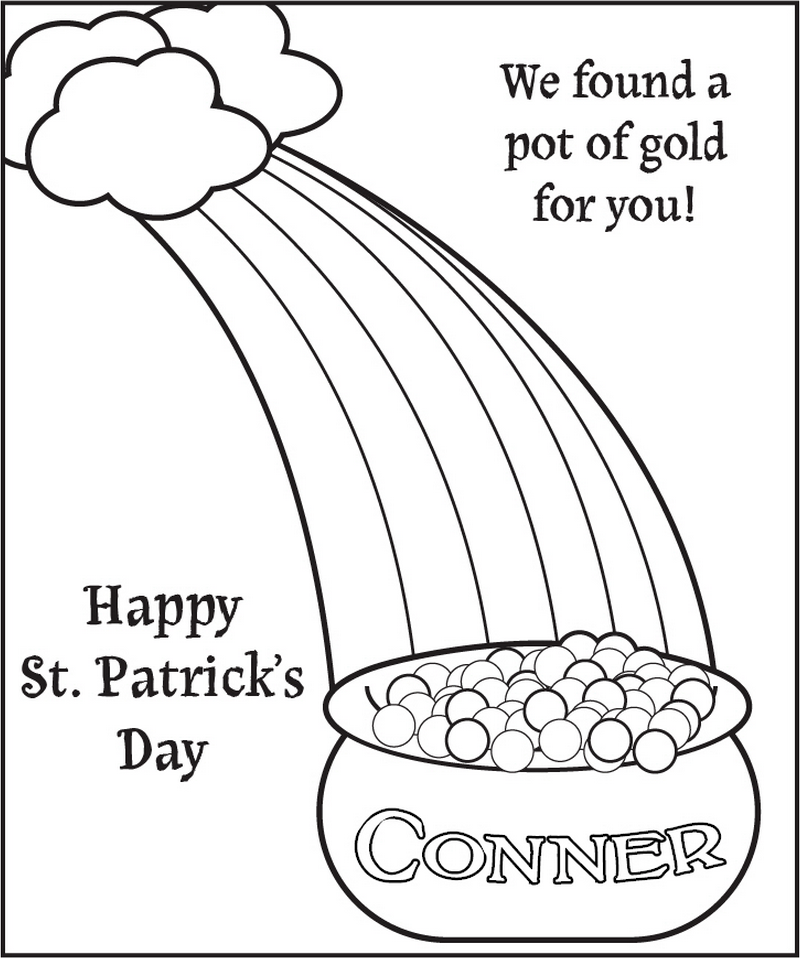 Pot o' Gold Coloring Page - frecklebox