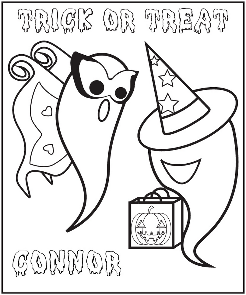 Halloween Ghosts Coloring Page - frecklebox