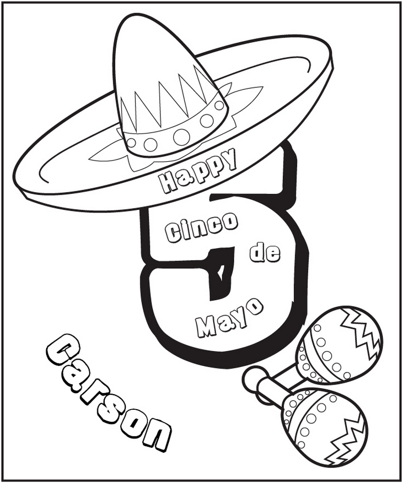 Cinco de Mayo Coloring Page - frecklebox