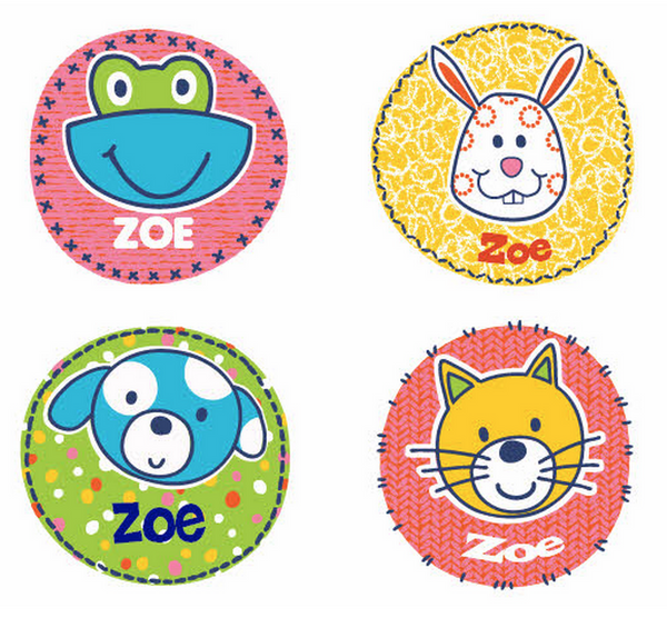Cheerful Friends Personalized Stickers - frecklebox
