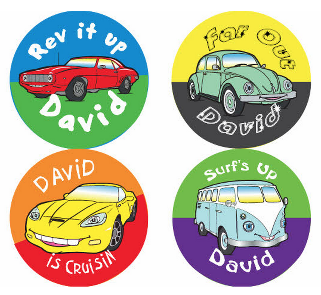 Cool Rides Personalized Stickers - frecklebox