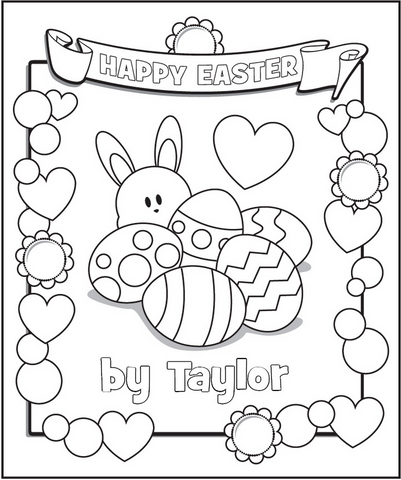 free personalized coloring pages easter frecklebox