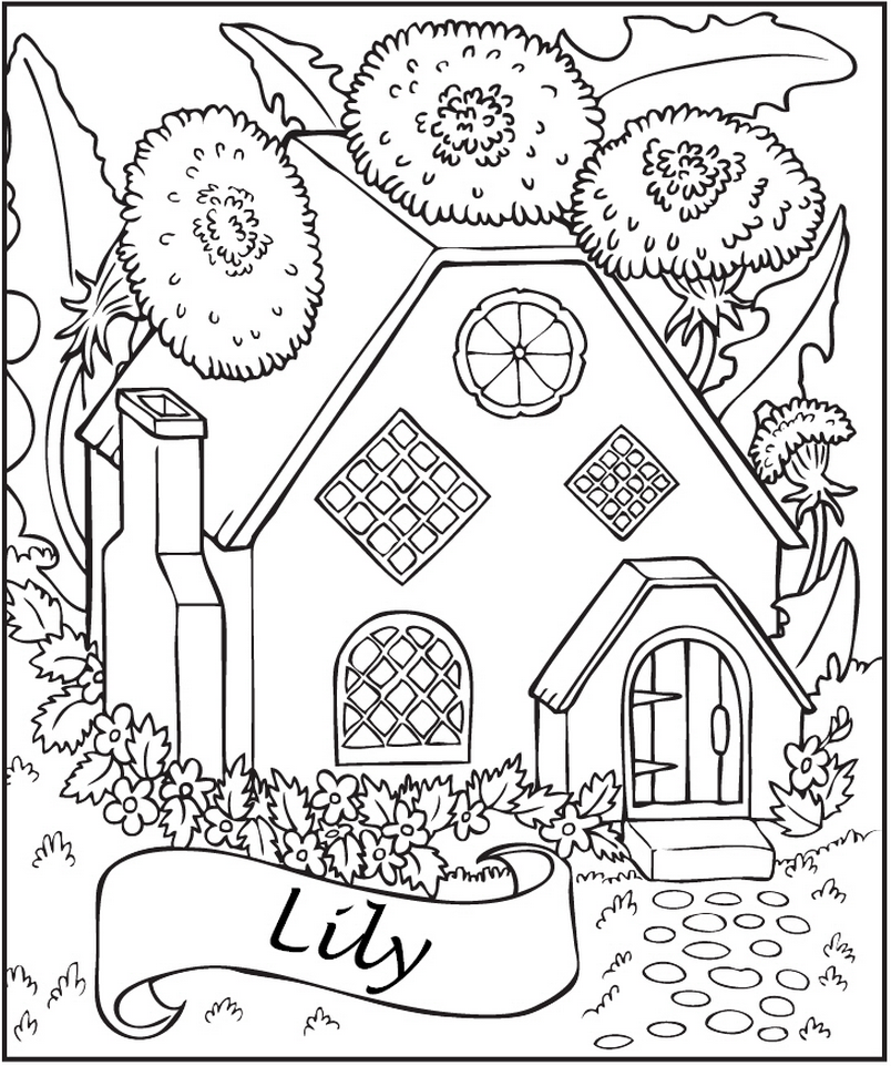 personalized fairy house coloring page frecklebox - House Coloring Pages Toddlers