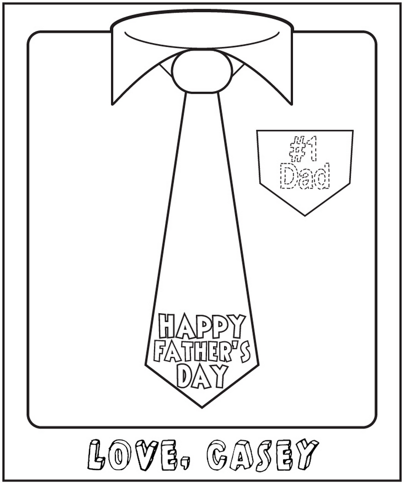 Father's Day Free Personalized Printable Coloring Sheet