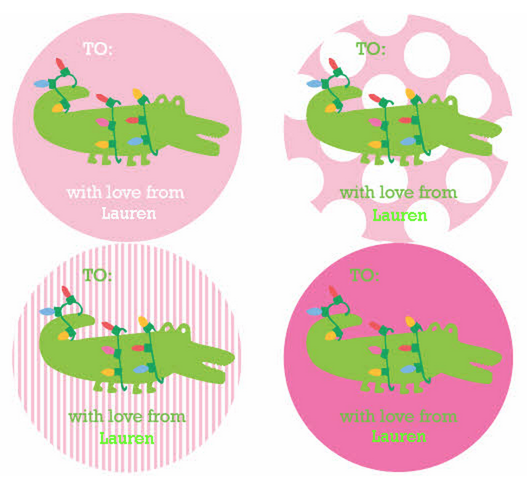 Gator Holiday Personalized Stickers - frecklebox