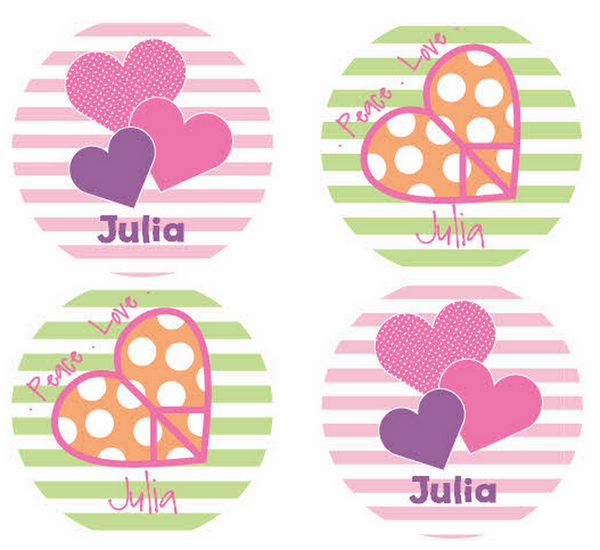 Heart Stripes Personalized Stickers - frecklebox