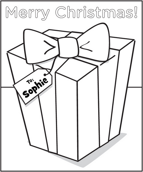 personalized holiday gift coloring page