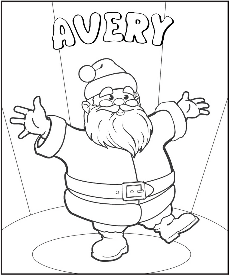Santa Coloring Page - frecklebox