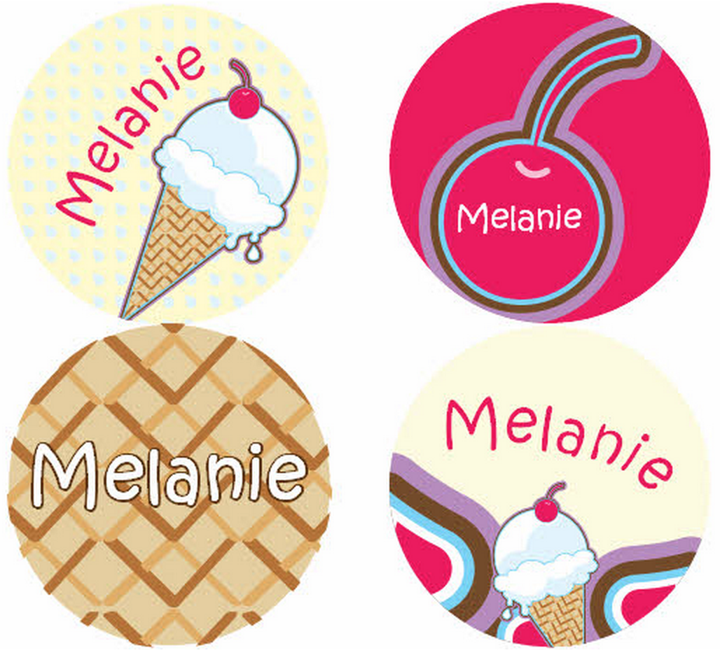 Scream for Ice Cream Personalized Stickers - frecklebox