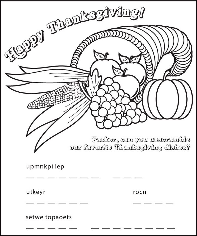 Personalized Thanksgiving Cornucopia Coloring Page Frecklebox