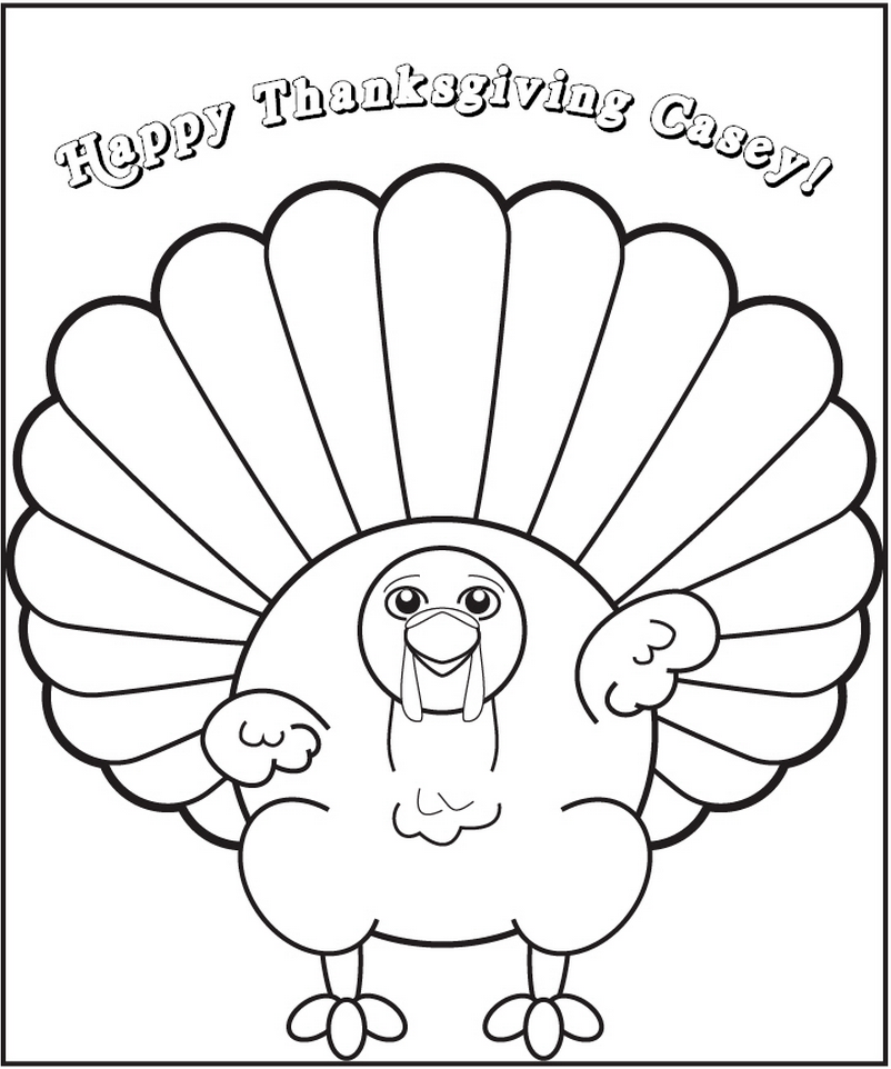 Personalized Thanksgiving Turkey Coloring Page | Frecklebox